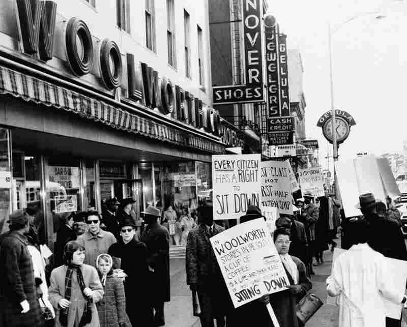 News of the Greensboro sit in spread. Here, African-Americans in Atlantic City, N.J., protest against Woolworth's segregated lunch counters, March 19, 1960.