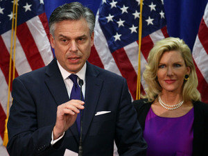 Former Utah Gov. Jon Huntsman, flanked by his wife, Mary Kaye, announced Monday at the Myrtle Beach Convention Center in South Carolina that he is ending his run for the Republican presidential nomination.