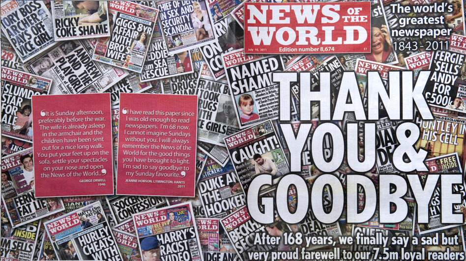 The 168-year-old British tabloid News of the World shut down last July after a widespread scandal that involved phone and voice mail hacking. Now there's a debate about placing new regulations on the British press. (AFP/Getty Images)