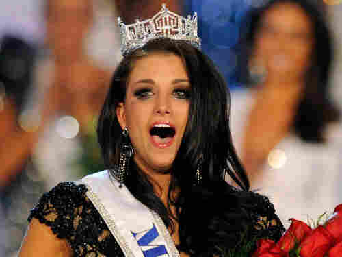Laura Kaeppeler, Miss Wisconsin, reacts after being crowned Miss America during the 2012 Miss America Pageant.