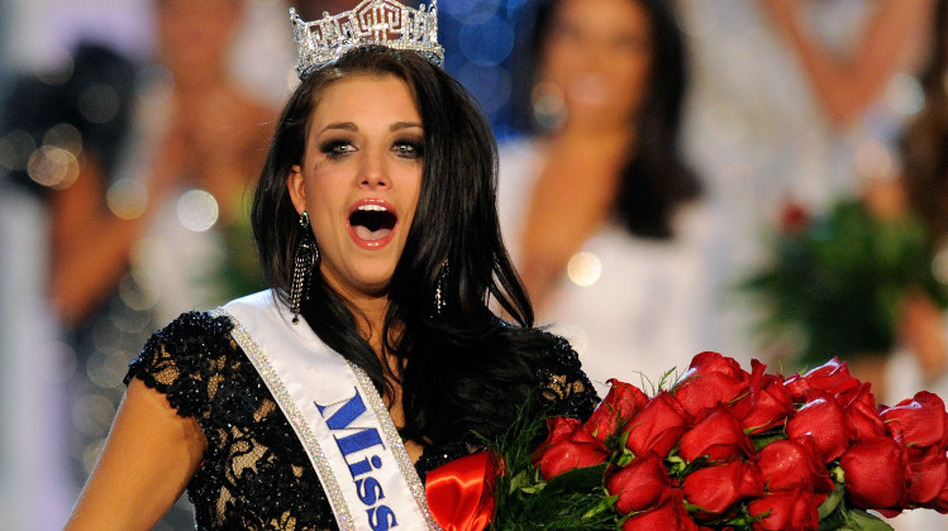 Laura Kaeppeler, Miss Wisconsin, reacts after being crowned Miss America during the 2012 Miss America Pageant. (Getty Images)