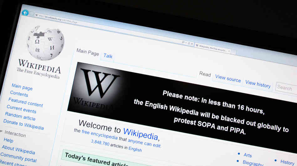 The online encyclopedia Wikipedia on Jan. 17.