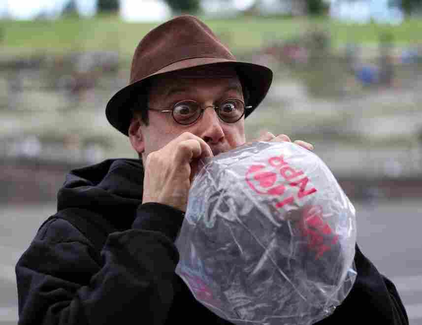 BOb Boilen and I Heart NPR beach balls at 2011 Sasquatch Music Festival