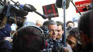 Former Utah Gov. Jon Huntsman was surrounded by members of the media during a campaign stop earlier this month in Dover, N.H.