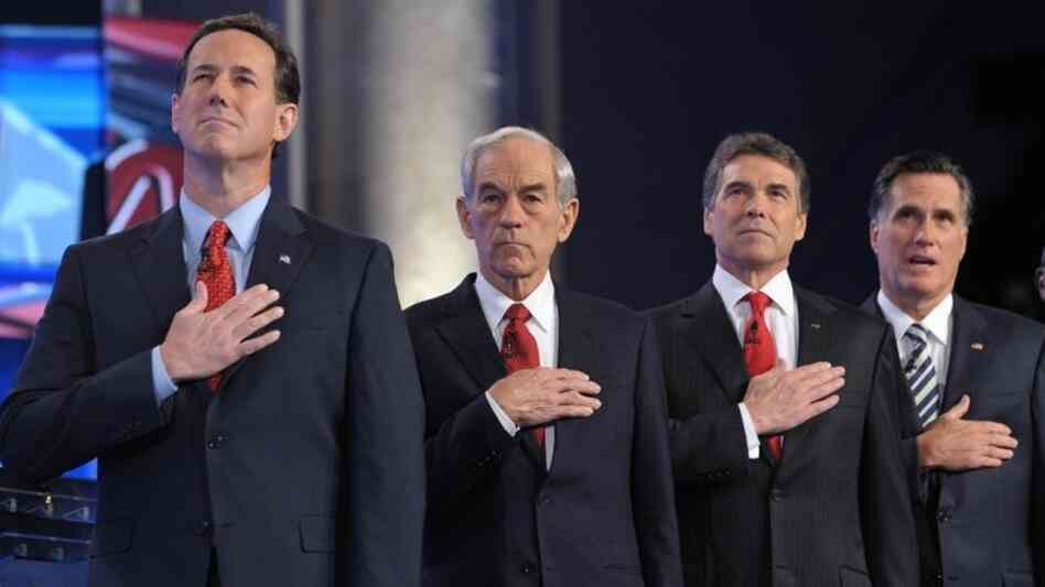 It wasn't kumbaya, but the GOP presidential hopefuls found harmony in the national anthem before a debate in November.