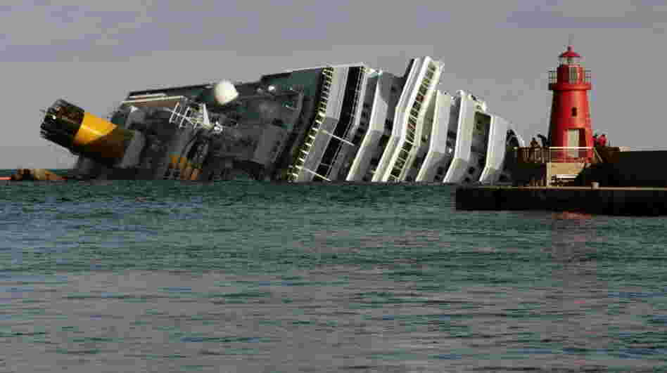 The cruise ship Costa Concordia leans on its side off the tiny Tuscan island of Giglio, Italy.