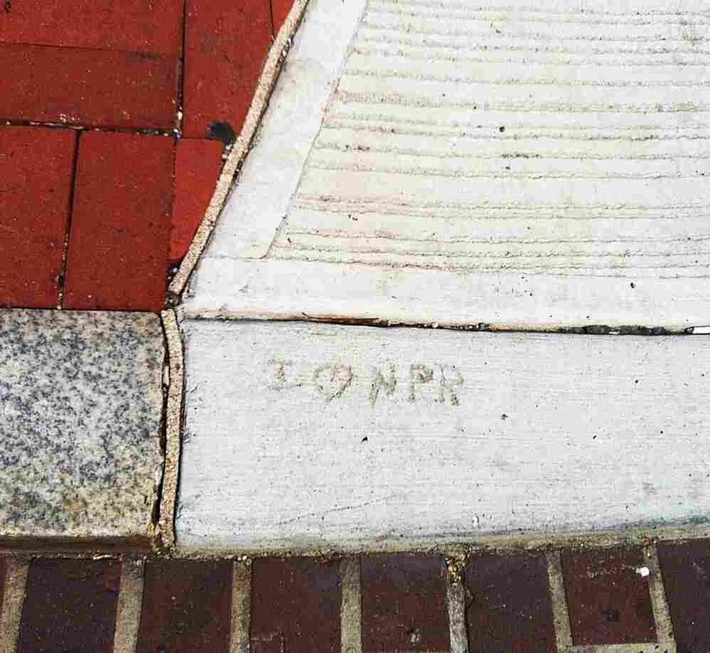 I Heart NPR sidewalk