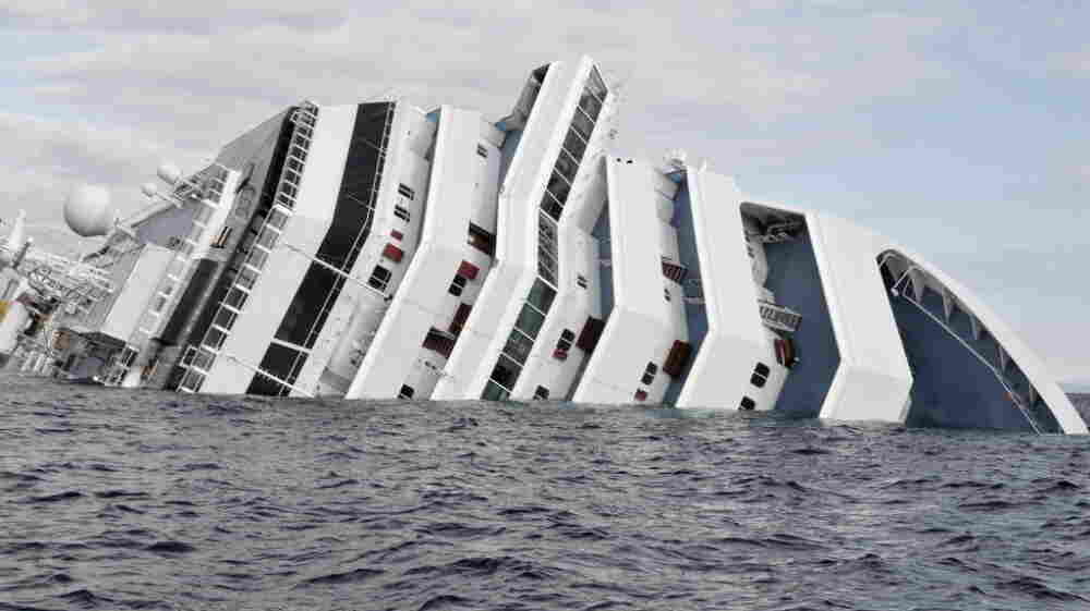 The cruise ship Costa Concordia, earlier today (Jan. 17, 2012).
