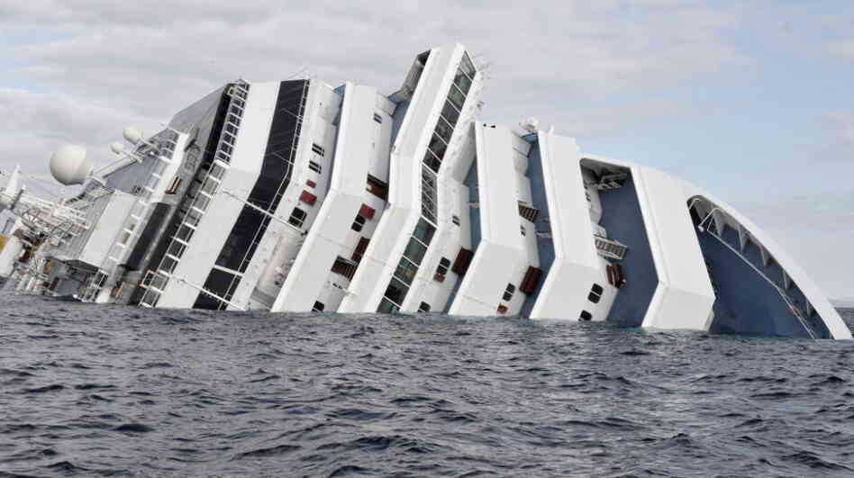 The cruise ship Costa Concordia, earlier today (Jan. 17, 2012).