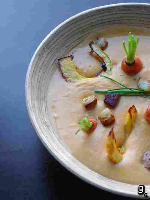 A warm potato-pumpkin soup for winter, or...