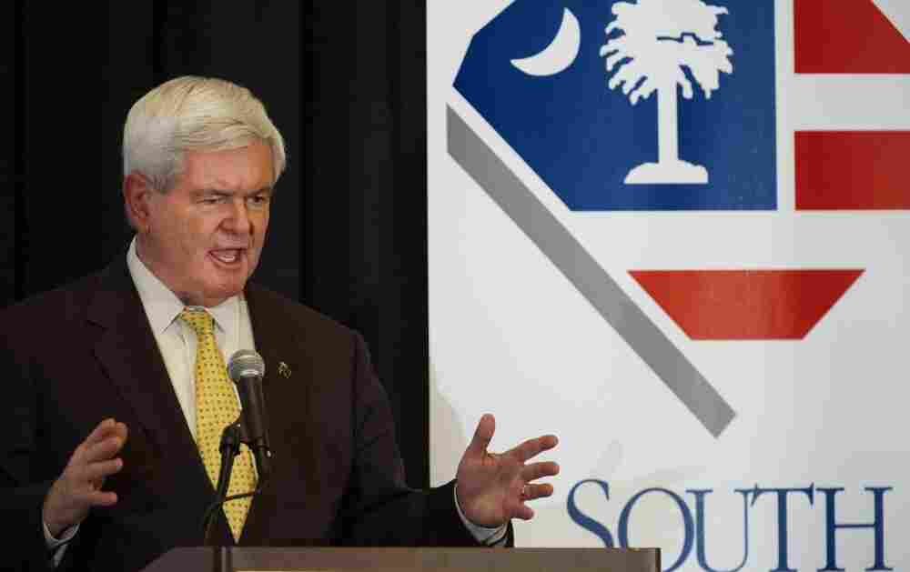 GOP presidential hopeful Newt Gingrich addresses the South Carolina Chamber of Commerce on Tuesday in Columbia, S.C. The state holds its primary on Saturday.