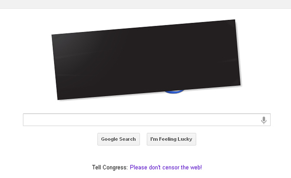 Google's main search page featured a black bar over the company's logo Wednesday, along with a link to a page describing its stance on the issue.