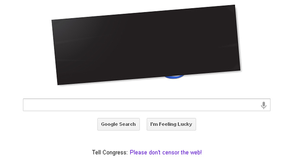 Google's main search page featured a black bar over the company's logo Wednesday, along with a link to a page describing its stance on the issue. (NPR)