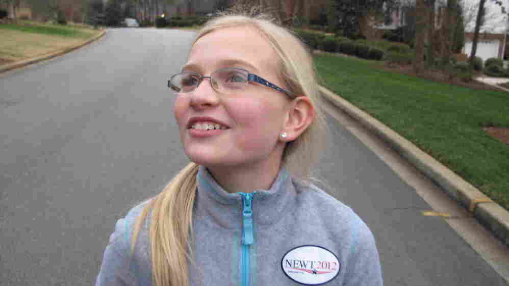 Abigail Ziegler, age 10, knocks on doors for Gingrich in Greenville, S.C.