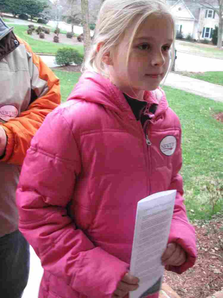 Alexandra Ziegler, age 9, leafletting for Gingrich in Greenville, S.C.