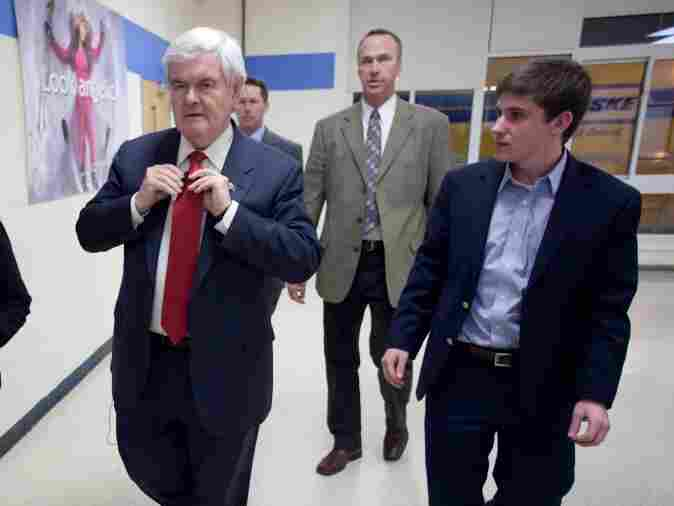 Republican presidential candidate Newt Gingrich (C) arrives to speak at a campaign stop at Salem High School on Jan. 06, 2012 in Salem, New Hampshire. Gingrich is hoping to win the upcoming South Carolina primary.