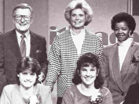 Host Mac McGarry (top left) poses with student contestants on the set of It's Academic in 1988.
