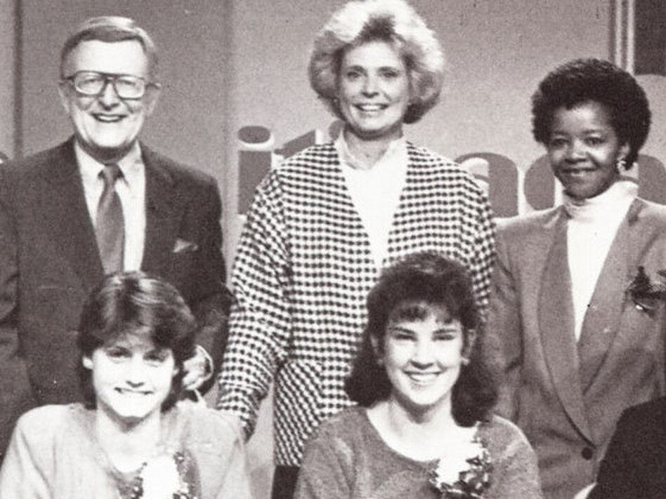 Host Mac McGarry (top left) poses with student contestants on the set of <em>It's Academic</em> in 1988. (Courtesy of 'It's Academic')