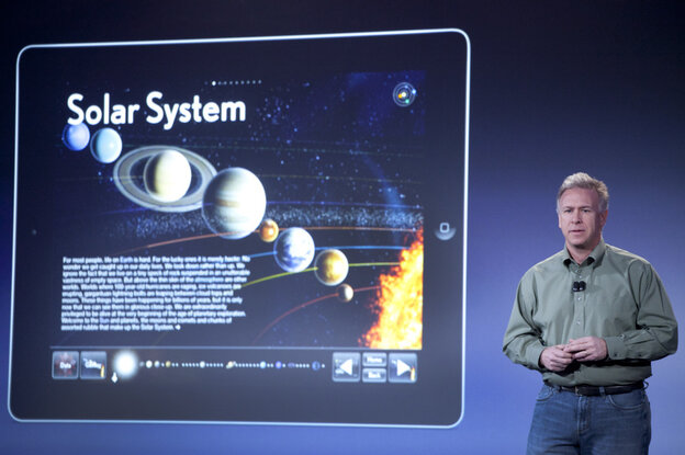 Apple's Philip Schiller discusses iBooks 2 for iPad at a launch for the company's new textbook initiative in New York on Thursday. Apple also released iBooks Author, a tool meant to lure publishers into creating new content specifically for the iPad.