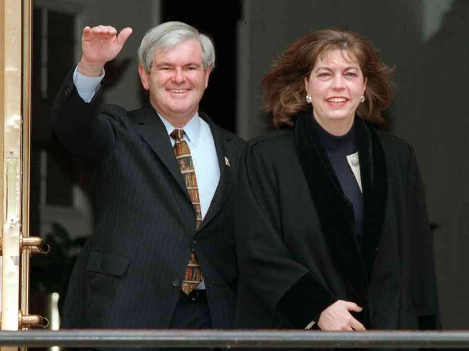 Former House Speaker Newt Gingrich and his then-wife, Marianne, leave their home on Jan. 7, 1997.