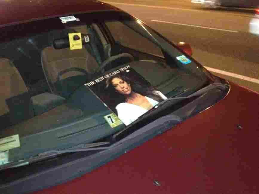 Carly Simon's album stuck on a windshield in Washington.