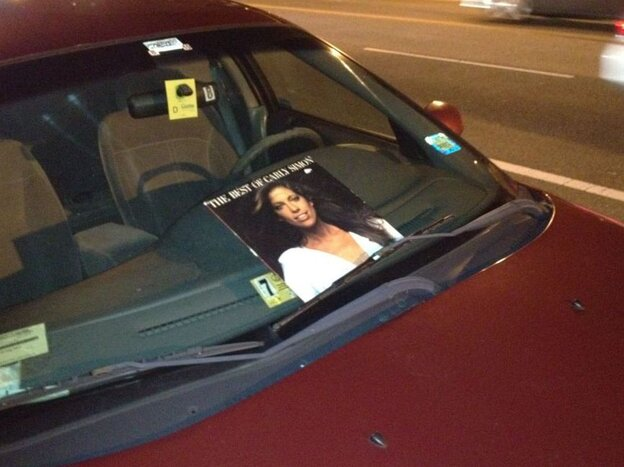 Carly Simon's album stuck on a windshield in Washington.