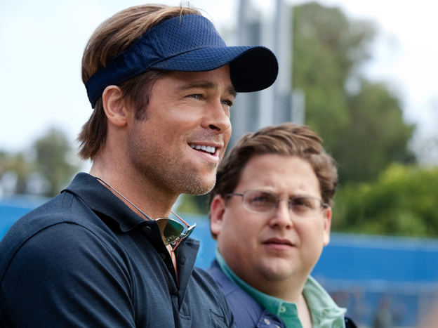 Brad Pitt, left, plays Billy Beane, the general manager of the Oakland A's, in the movie <em>Moneyball</em>. His assistant Peter Brand is played by Jonah Hill.