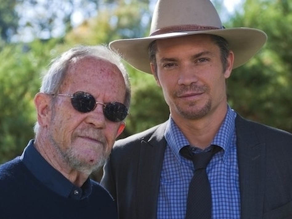 Crime novelist Elmore Leonard (left) with <em>Justified</em> star Timothy Olyphant.