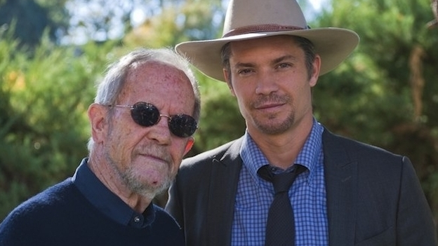 Crime novelist Elmore Leonard (left) with Justified star Timothy Olyphant.  (Courtesy of FX)