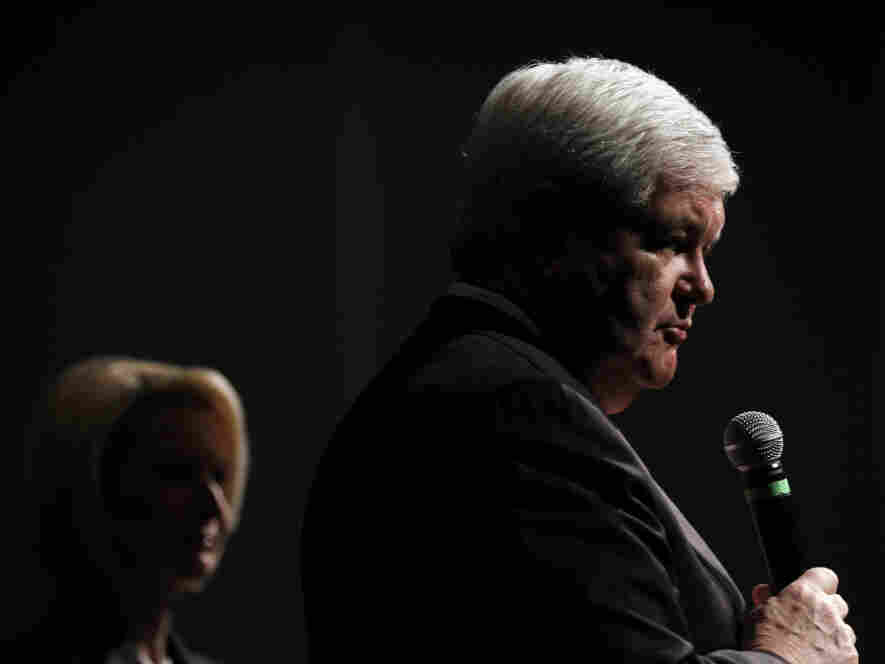 Newt Gingrich, with wife Callista, speaks in Bluffton, S.C., on Thursday.