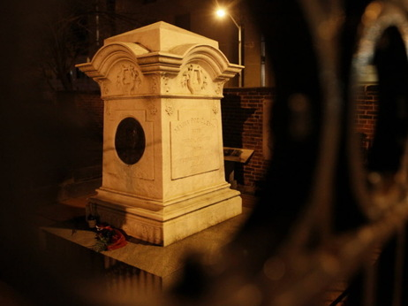 The monument in Baltimore that contains the remains of writer Edgar Allan Poe, during the pre-dawn hours earlier today.