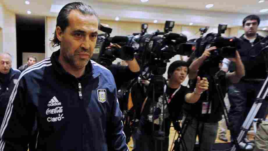 In sports-crazy Argentina, sports journalism schools have cropped up to train aspiring reporters and broadcasters. Here, Argentine national soccer team coach Sergio Batista arrives for a press conference in Cordoba, Argentina, last year.