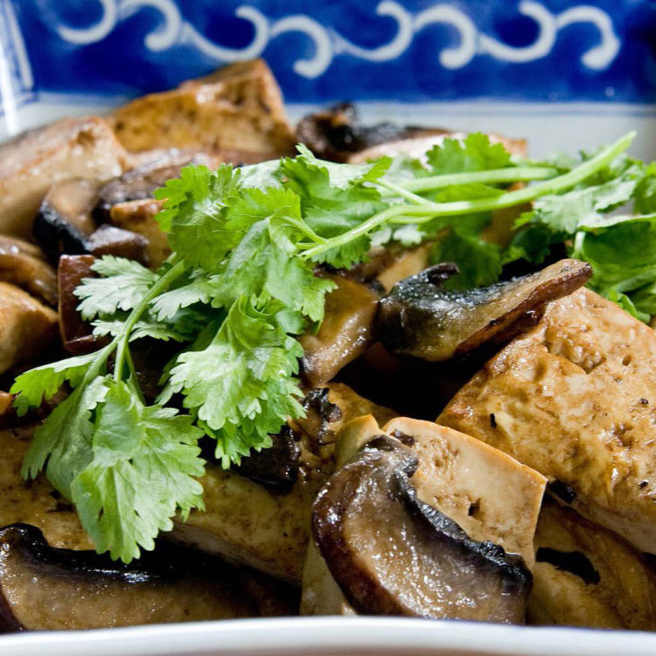 Tofu with Mushrooms, a dish featured in The Cultural Revolution Cookbook.