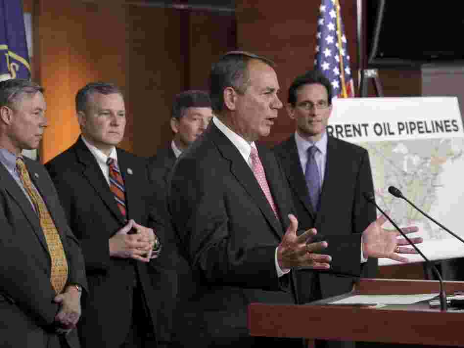 House Speaker John Boehner and fellow Republicans voice their opposition to President Obama's decision to reject the Keystone XL pipeline, at a news conference Wednesday on Capitol Hill.