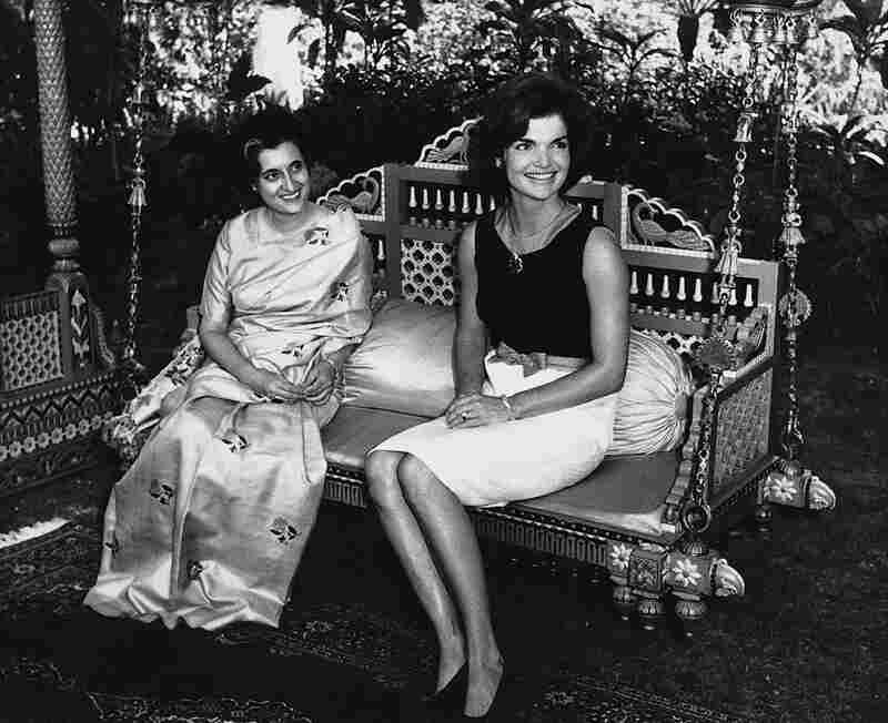 In 1962, Jacqueline Kennedy visited India as a guest of Prime Minister Nehru at the Teen Murti House, his residence, in Delhi. Here, Kennedy sits with Nehru's daughter, Indira Gandhi, who would serve as the country's third prime minister.