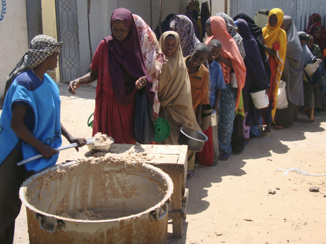 Families displaced by drought line up for food this week in Mogadishu, Somalia.