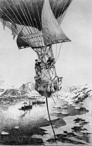 An illustration from Joseph Lecornu's 1903 book La Navigation Aerienne depicts Swedish explorer S.A. Andree taking off in a hydrogen balloon on an ill-fated expedition to the North Pole in July 1897.