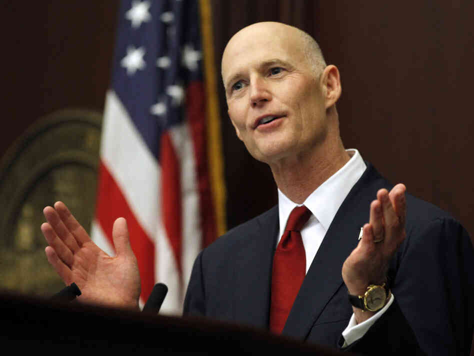 Florida Gov. Rick Scott delivers the