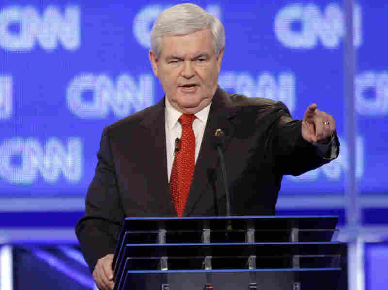 Former House Speaker Newt Gingrich participates in the Republican presidential candidate debate in Charleston, S.C., Thursday.