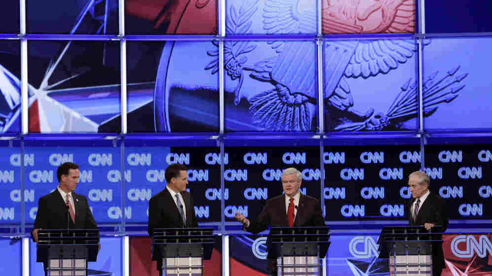 Republican presidential candidates (from left) Rick Santorum, Mitt Romney, Newt Gingrich and Ron