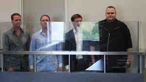 Megaupload.com employees Bram van der Kolk, also known as Bramos (from left); Finn Batato; Mathias Ortmann; and founder, former CEO and