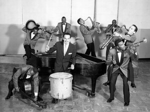 Johnny Otis (center), shown playing with his band The Johnny Otis Revue.