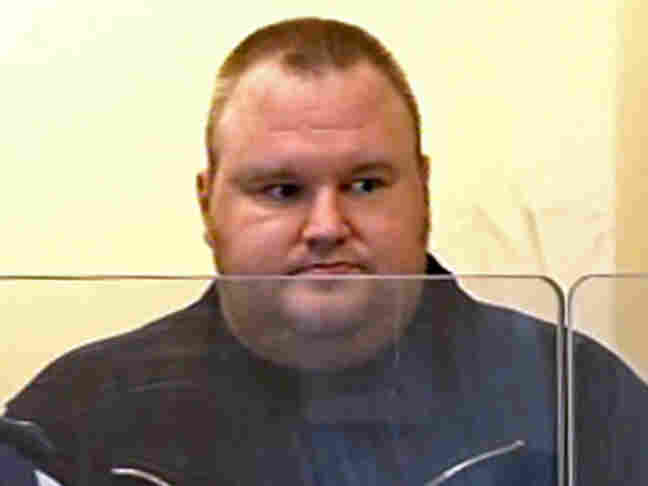 Megaupload founder Kim Dotcom, also known as Kim Schmitz, in an Auckland, New Zealand, court today.