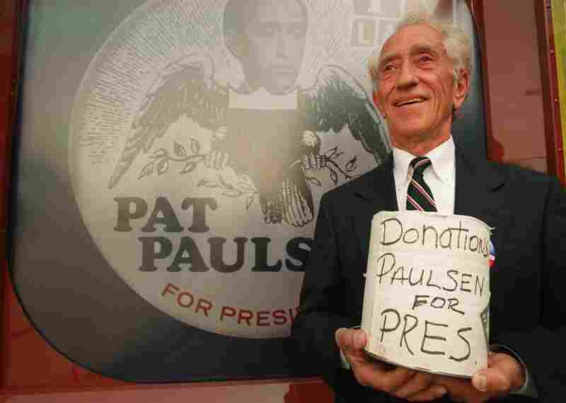 Comedian Pat Paulsen announces his candidacy to be president in Universal City, Calif., in 1996 — his eighth run for the slot. Paulsen's earliest bid for the presidency was announced in 1968 on The Smothers Brothers Comedy Hour.