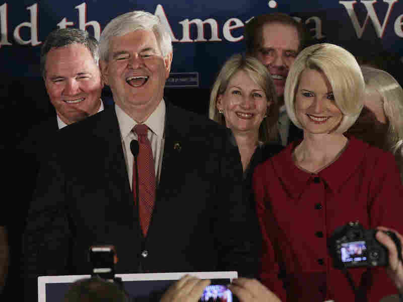 "Celebrating in South Carolina on Saturday night, Newt Gingrich said his victory proved ""people powered with the right ideas beats big money."""