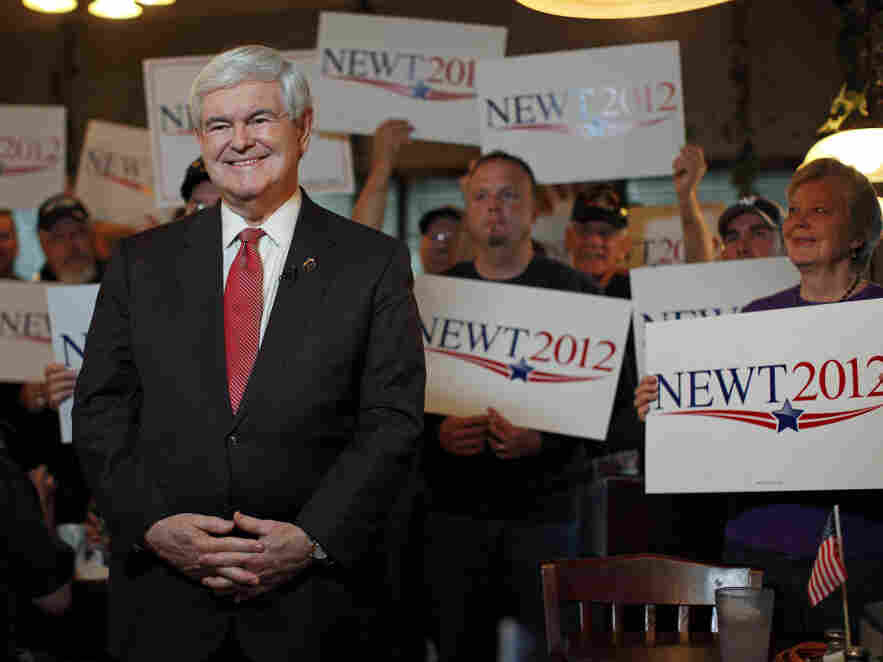 Newt Gingrich at the Grapevine Restaurant in Spartanburg, S.C.,  Saturday, Jan. 21, 2012.