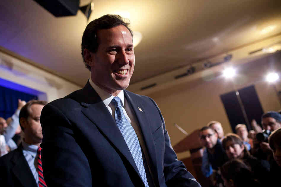 "Rick Santorum vowed to go forward after finishing third. ""It's a wide-open race. Join the fight,"" he said."