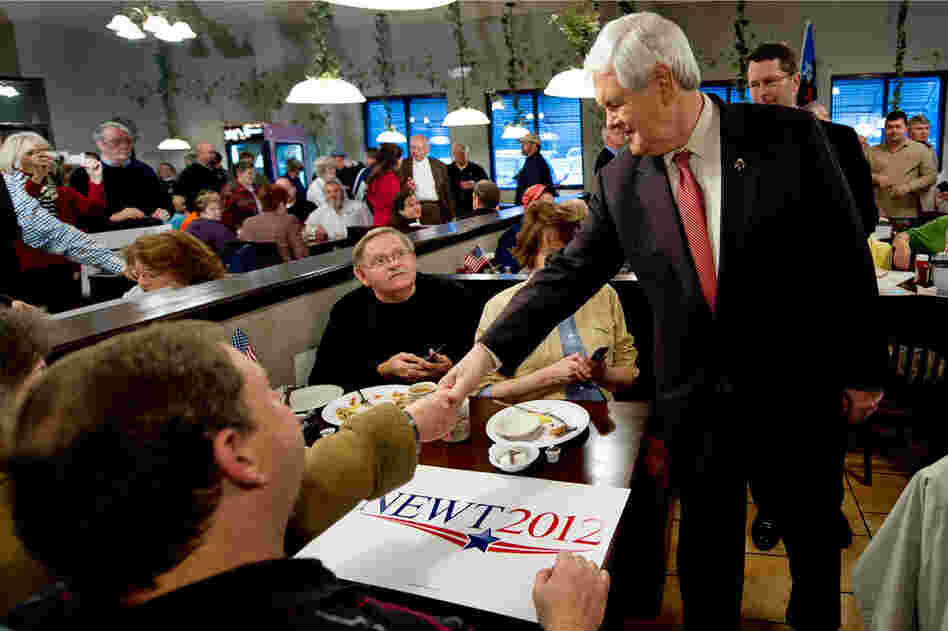 Gingrich greets potential voters at the Grapevine Restaurant in Boiling Springs.