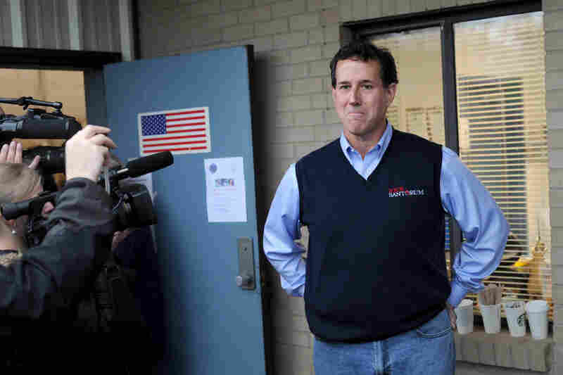 Santorum stops by the Amicks Ferry voting precinct in Chapin.