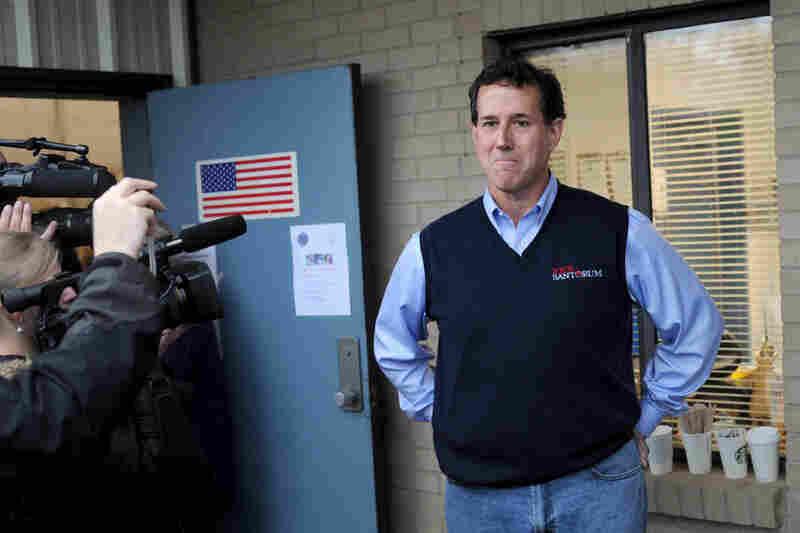 Santorum stops by the Amicks Ferry voting precinct in Chapin.
